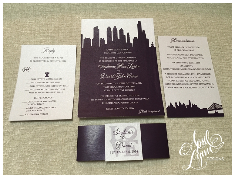 This Philly Invitation Set Is Clean Elegant And Modern It Features The Center City Skyline Ben Franklin Bridge Liberty Bell